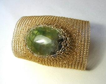 Extra wide cuff bracelet Handmade bracelet Fluorite cuff bracelet  Gemstone handmade cuff  Wire crochet gold bracelet