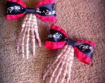 Red and Black Skeleton Hair Bow