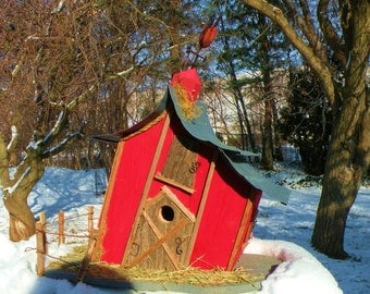 bird house, birdhouse, Extra Large Leaning Barn birdhouse with rooster weather vane