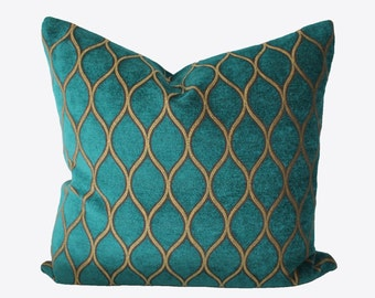 Decorative Designer Iman Moroccan Lattice, Turquoise Trellis Pillow Cover, 18x18, 20x20, 22x22 or Lumbar, Throw Pillow