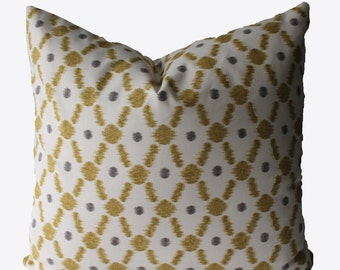 Decorative Lattice Chartreuse Pillow Cover, 18x18, 20x20, 22x22 or Lumbar Throw Pillow
