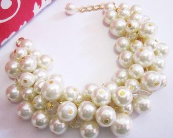 Ivory Bridesmaid Bracelet Pearl Bracelet Chunky Cluster Bracelet Pearl Bridesmaid Jewelry Wedding Jewelry