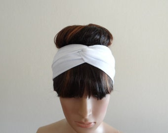 White Twist Headband.White Head Wrap