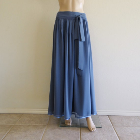 bluish grey maxi skirt chiffon skirt by lynamobley2012
