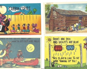 Lot of Four Black Americana Postcards