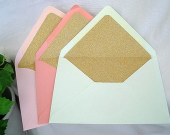 Glitter Lined Envelope Liners, Gold or Silver Sparkly Wedding Invitation Birthday Teas Mint Blush Coral A7 Size Custom Any Color
