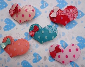 Sale 20 pcs Mixed colors (10 colors) Lovely Heart Plastic Hair Clips