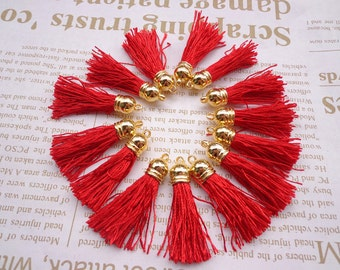 SALE--20pcs red Silk/Satin Leather Tassels charms pendant, Ideal Accessories for DIY projects