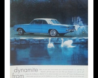 Spooky Ad Buick Skylark Baby Blue and White Hardtop Swans Candlelight Couple Ghosts!  13 x 10.  Ready for Framing.
