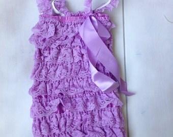 Lavender Lace Romper - Baby Lace Romper - Ruffe Lace Romper - Petti Romper - Infant lace romper - All colors