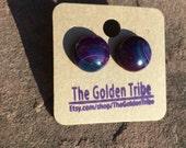 Purple and Green Onyx Agate Earrings
