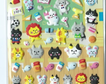 Japanese/ Korean Puffy Stickers - Animal Classroom