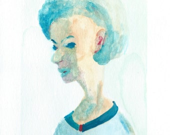 Original Watercolor Portrait Painting/ Illustration- I am Blue