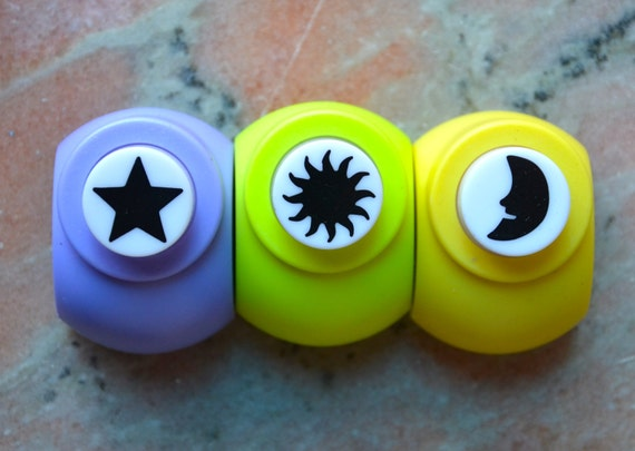 A Set of 3 Paper Punches- Sun, Star, Moon