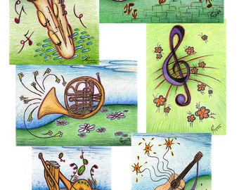 Post cards with music drawing (6 pieces), musical instrument cards, greeting cards, birthday card, music landscape, musician collectors item
