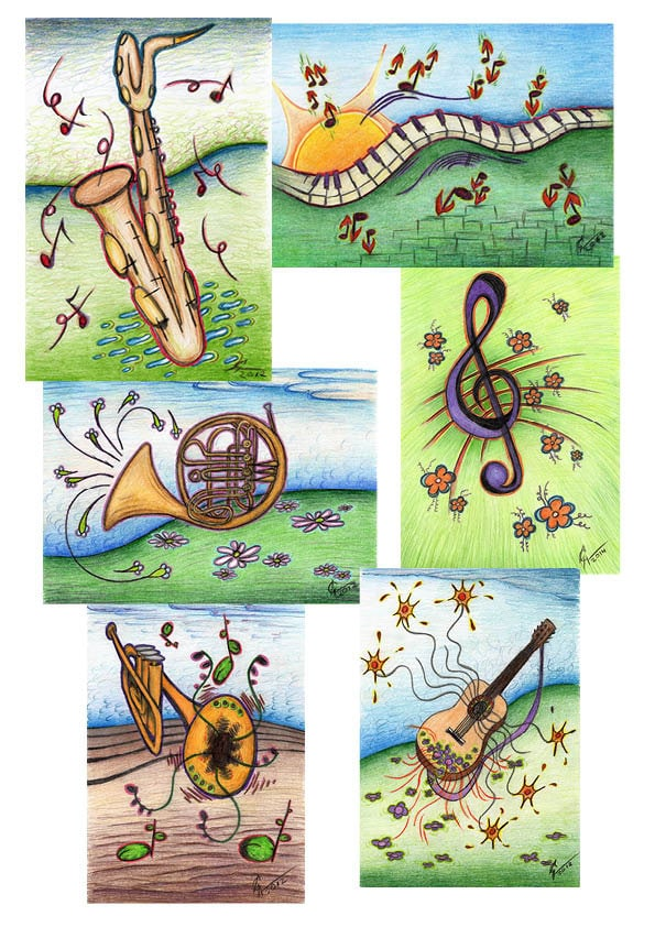 cartes de poste avec musique dessin 6 pi ces cartes de. Black Bedroom Furniture Sets. Home Design Ideas