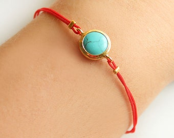 Turquoise bracelet, jade bracelet, red string bracelet, red cord, best friend birthday gift, valentine gift, mother gift