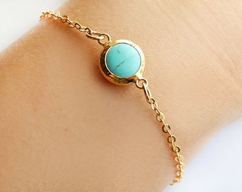 Turquoise bracelet, turquoise jewelry, gold turquoise bracelet, best friend birthday gift, gift for her, valentine gift, mother gift