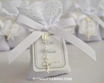 Communion or Baptism Favors - Lavender Sachet Favors with Mini Rosary & White Ribbon - Christening Favors (set of 20 sachets)