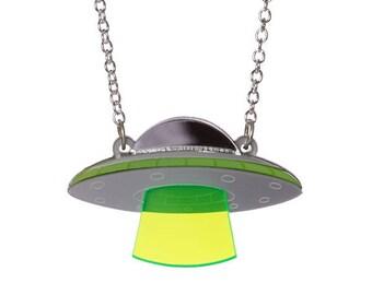 UFO necklace - laser cut acrylic