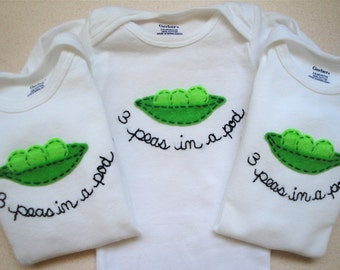 TRIPLETS SET peas in a pod- white bodysuits