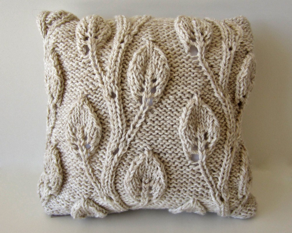 Hand-Knit Cream Beige Throw Pillow Cover 18x18