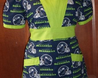 Seattle Seahawks  Scrub Top - Medical -  Steelers - Arizona - Cowboys - 49ers - Broncos - Green Bay - Bears - Lions - Plus Sizes - More