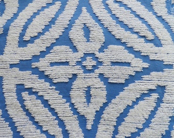 Blue Wedding Ring Chenille Vintage Bedspread Fabric Piece...12  x  24""