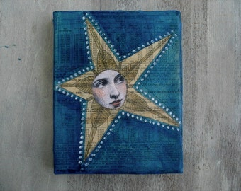 Dark Star Art-anthropomorphic star-patriotic theme-Celestial art, OOAK