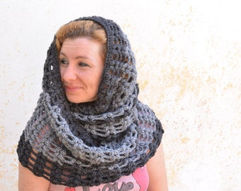 Chunky cowl scarf, black/grey crochet snood, infinity circle hood, knit oversized neckwarmer