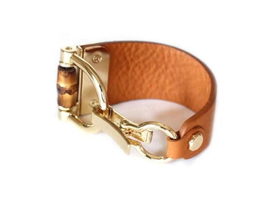 107 TAN BEIGE-Bamboo leather bracelet cuff