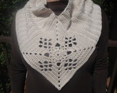 Ready to Ship: Unique Off White Circle Scarf ,Cowl, Shawl with center lace inspired granny square accent