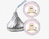 Owl Pink Baby Shower - Personalized Hershey Kiss Stickers, Hershey Kiss Labels, Party Favors, Favor Sticker