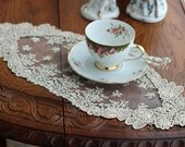 Free Shipping Handmade Wedding VTG Antique Handmade Table Doily Runner,Embroidery&Lace 17x45cm