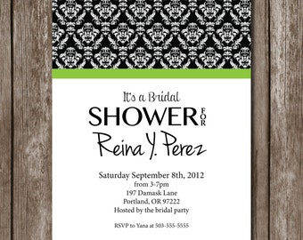 Black and White Damask with lime green// Printable Bridal Shower Invitation//Classic
