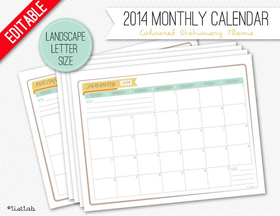 Editable 2014 Monthly Calendar - 12 sheets (Coloured Stationery Theme)
