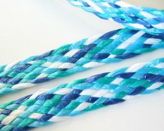 Plastic braid trim 2 sided blue turquoise white 4 yards