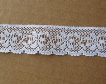 """6 yards white lace trim 1-1/16"""" wide"""