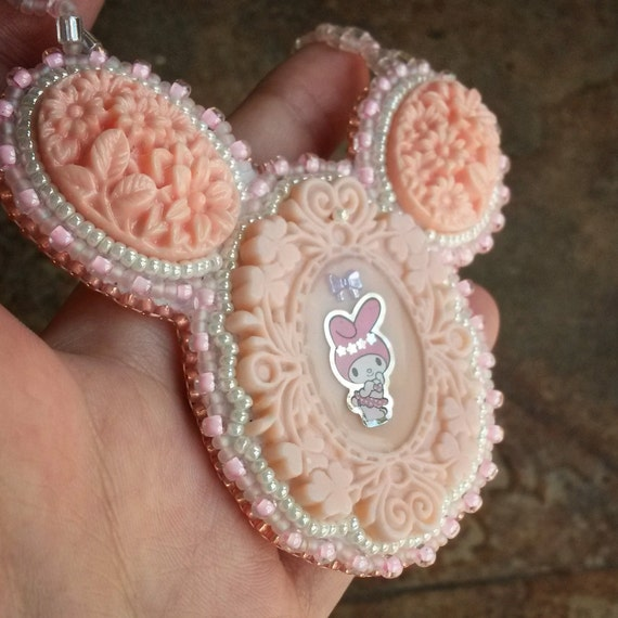Bead embroidery My Melody Bib Necklace