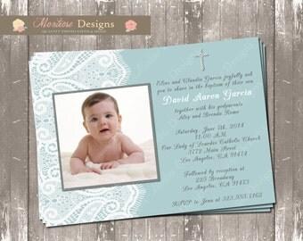 Blue Lace Christening/Baptism Invitation DIGITAL FILE