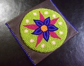 Beaded Flower Leather Wallet Pouch Purse