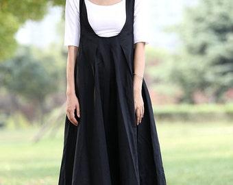 Black Pinafore Dress - Loose-Fitting Cool Long Black Maxi Linen Summer Suspender Dress Plus Size Clothing (C279)