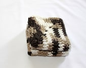 Xtra Large Dishcloths - Crocheted Cotton Dish Cloth - Large - Two 9 Inch Squares - Multicolored Browns and White
