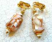 SALE Clip Mosaic Blush Shell Earrings with Bone & Gold Beads