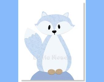 Fox Nursery Prints, Baby Boy Nursery Prints, Blue Nursery Prints, Forest Animals Nursery, All Blue nursery, Toddler Boy Art, Modern Nursery