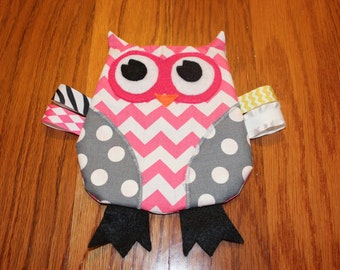 Pink Chevron Owl Crinkle Toy Christmas Gifts for Baby
