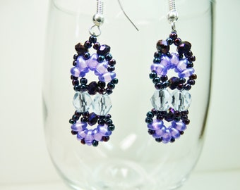 Dangle Bead Woven Earrings, Purple Bead Woven Earrings, Dangle Earrings, Purple Earrings