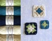 Cotton Yarn 5 Balls, Retro Colour Palette, Pistachio Teal Navy Off-White Ecru Ready to ship by CrochetObjet