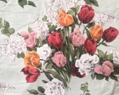 Original 1950s Pair of Green Floral Rose Curtains