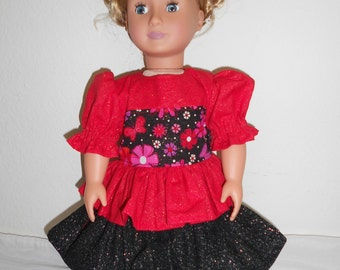 Red and Black Glitter Dress for American Girl doll and other 18 inch dolls